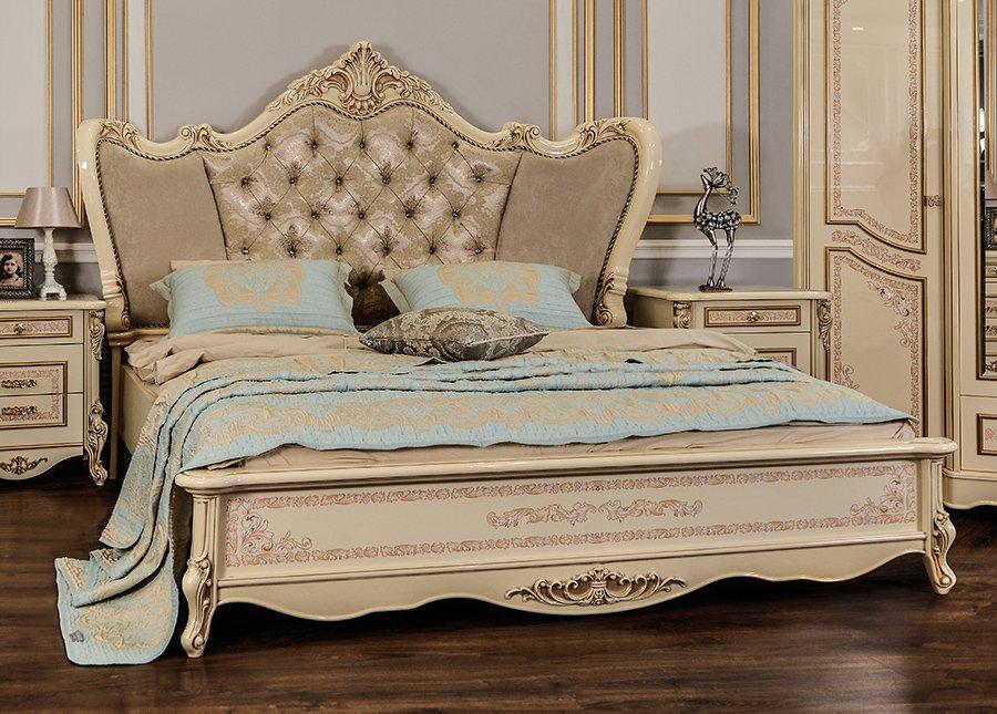 Кровать Прага крем глянец