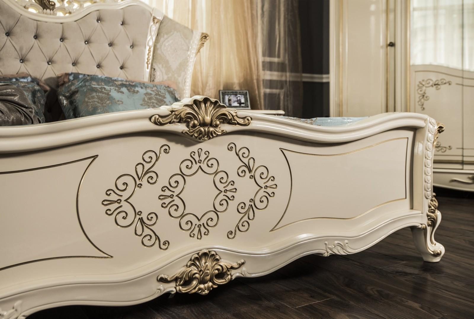 Кровать Оливия крем глянец2