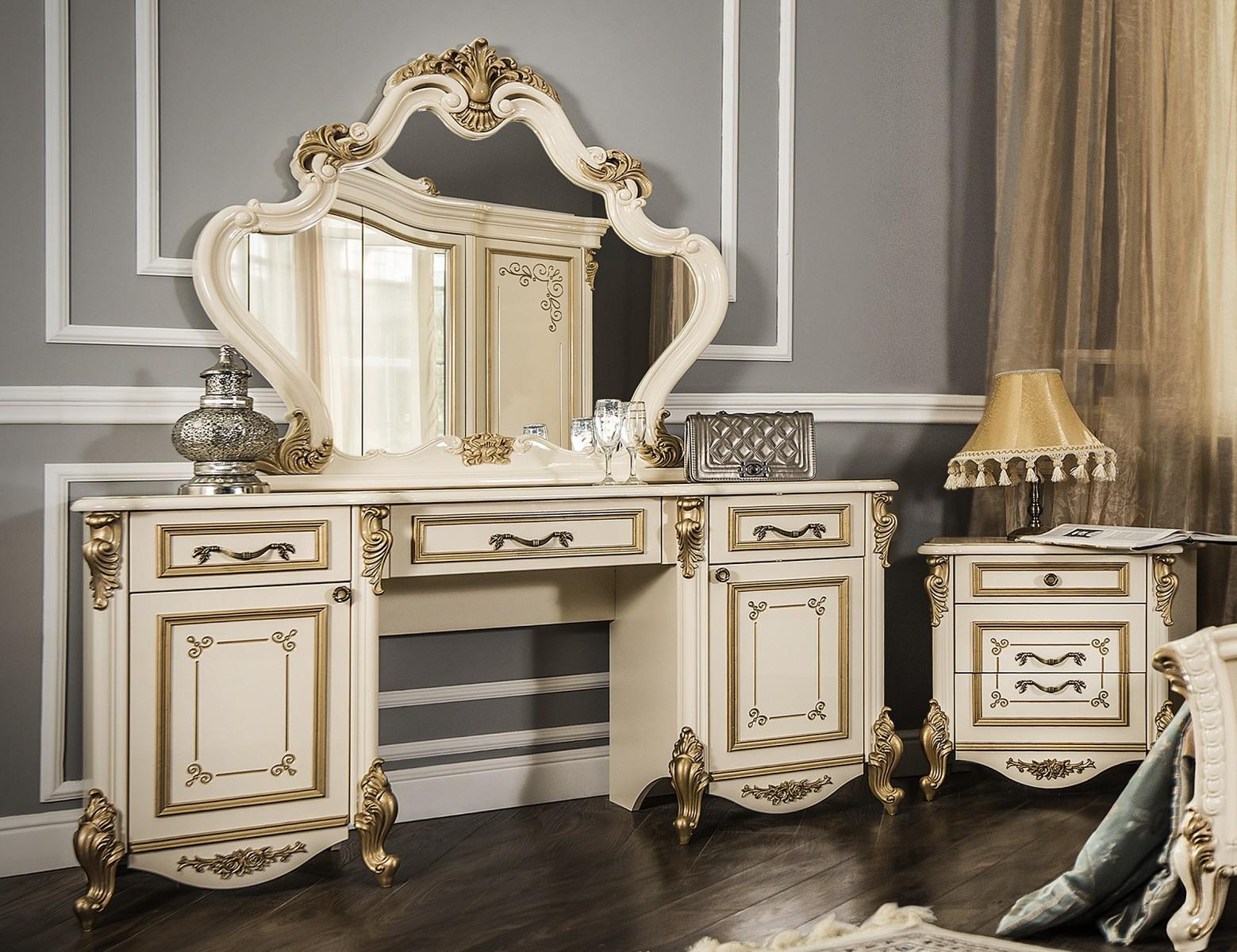 Туалетный столик Оливия крем глянец1