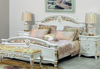 Кровать Afina белый с золотом