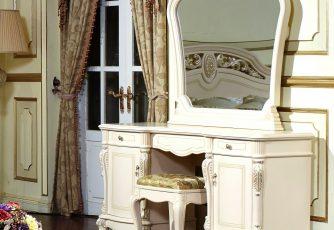 Туалетный стол с зеркалом Afina белый с жемчугом