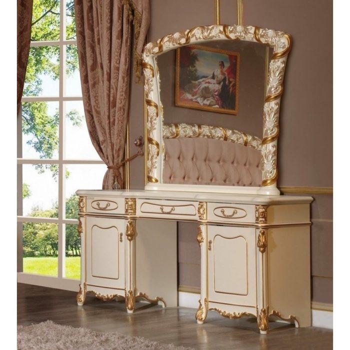 Стол туалетный с зеркалом Fiora Champagne