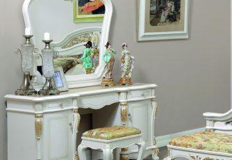 Туалетный стол с зеркалом Afina белый с золотом