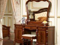 Туалетный стол с зеркалом Afina орех с золотом