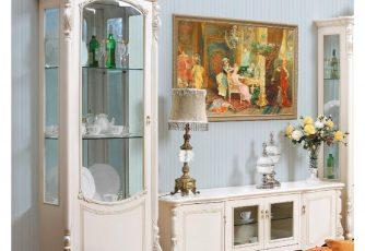 Витрина 1-дверная левая Afina белый с жемчугом