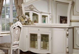 Комод Afina белый с золотом с зеркалом