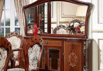 Комод Afina орех с золотом с зеркалом