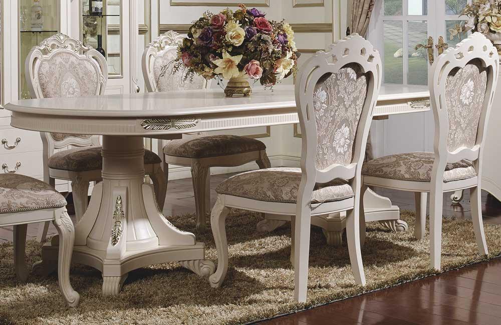Стол обеденный Afina белый с золотом1