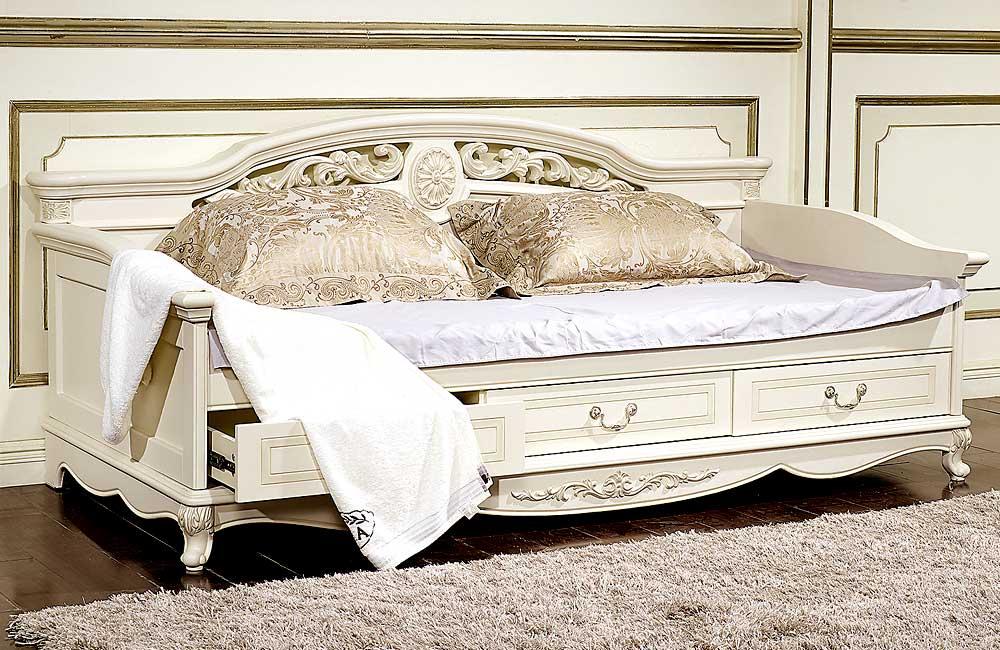 Кровать детская Afina белый с жемчугом