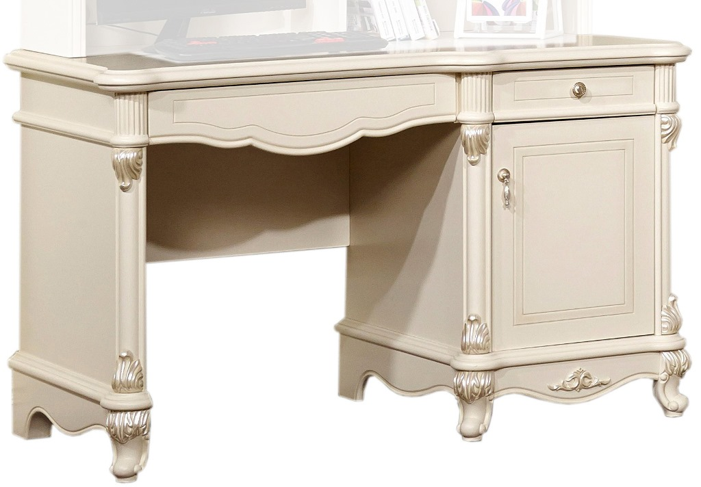 Стол письменный Afina белый с жемчугом