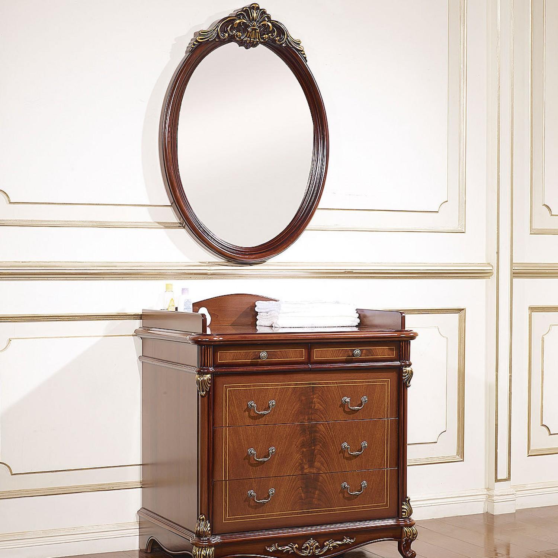 Зеркало настенное Afina орех с золотом1