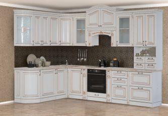 Кухня Деметра радиусная угловая 3140 ваниль