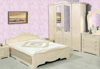 Спальня Валенсия бежевый глянец