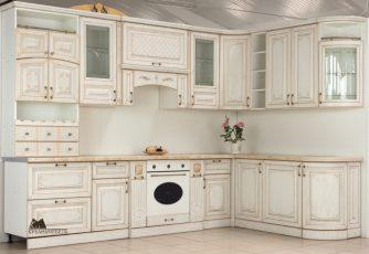 Кухня Прага радиусная угловая 3200 белый ясень