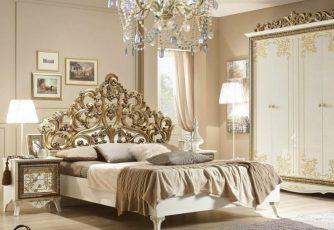 Кровать Стефани белое золото