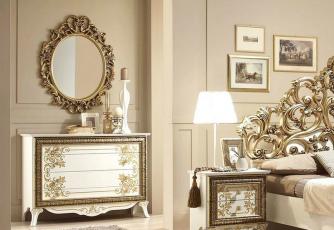 Комод С34 с зеркалом белое золото