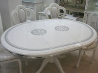 Стол овальный раскладной Гретта белый/серебро