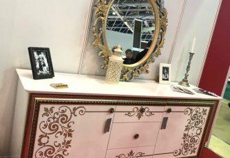 Буфет с зеркалом БС 34 Стефани белое золото