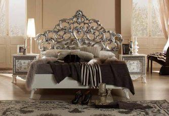 Кровать Стефани белое серебро