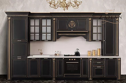 Кухня Валенсия прямая 4,2 м черный с серебром Буденновская МК