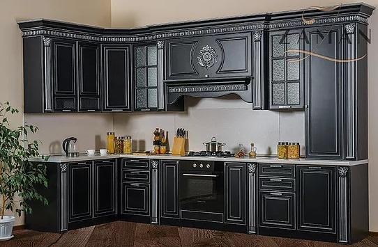 Кухня Валенсия угловая 3,6 м черный с серебром Буденновская МК