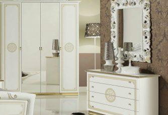 Комод с зеркалом ЕВ34 Европа белое золото