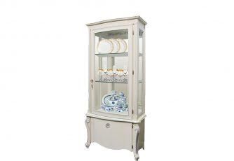 Шкаф с витриной Луиза ММ 257-10/01 белая эмаль