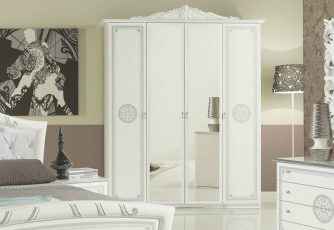 Шкаф 4-х дверный ЕВ44 Европа белое серебро