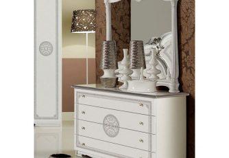 Комод с зеркалом Гретта серебро
