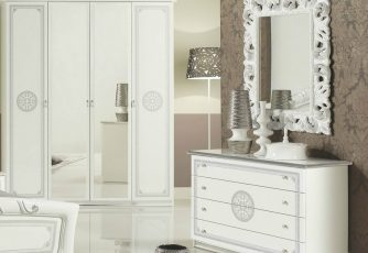 Комод с зеркалом ЕВ34 Европа белое серебро