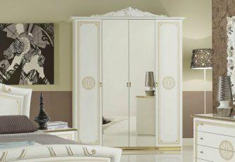 Шкаф 4-х дверный ЕВ44 Европа белое золото
