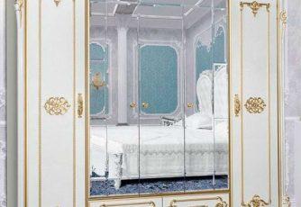 Шкаф 5-ти дверный Дольче Вита СДВ-01 белый глянец/золото