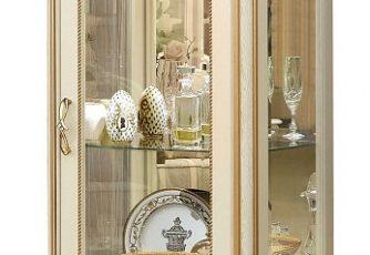 Шкаф с витриной Алези Люкс 8 П350.08л слоновая кость