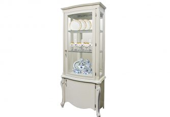 Шкаф с витриной Луиза ММ 257-01/01 белая эмаль