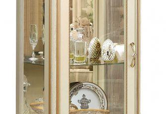Шкаф с витриной Алези Люкс 8 слоновая кость