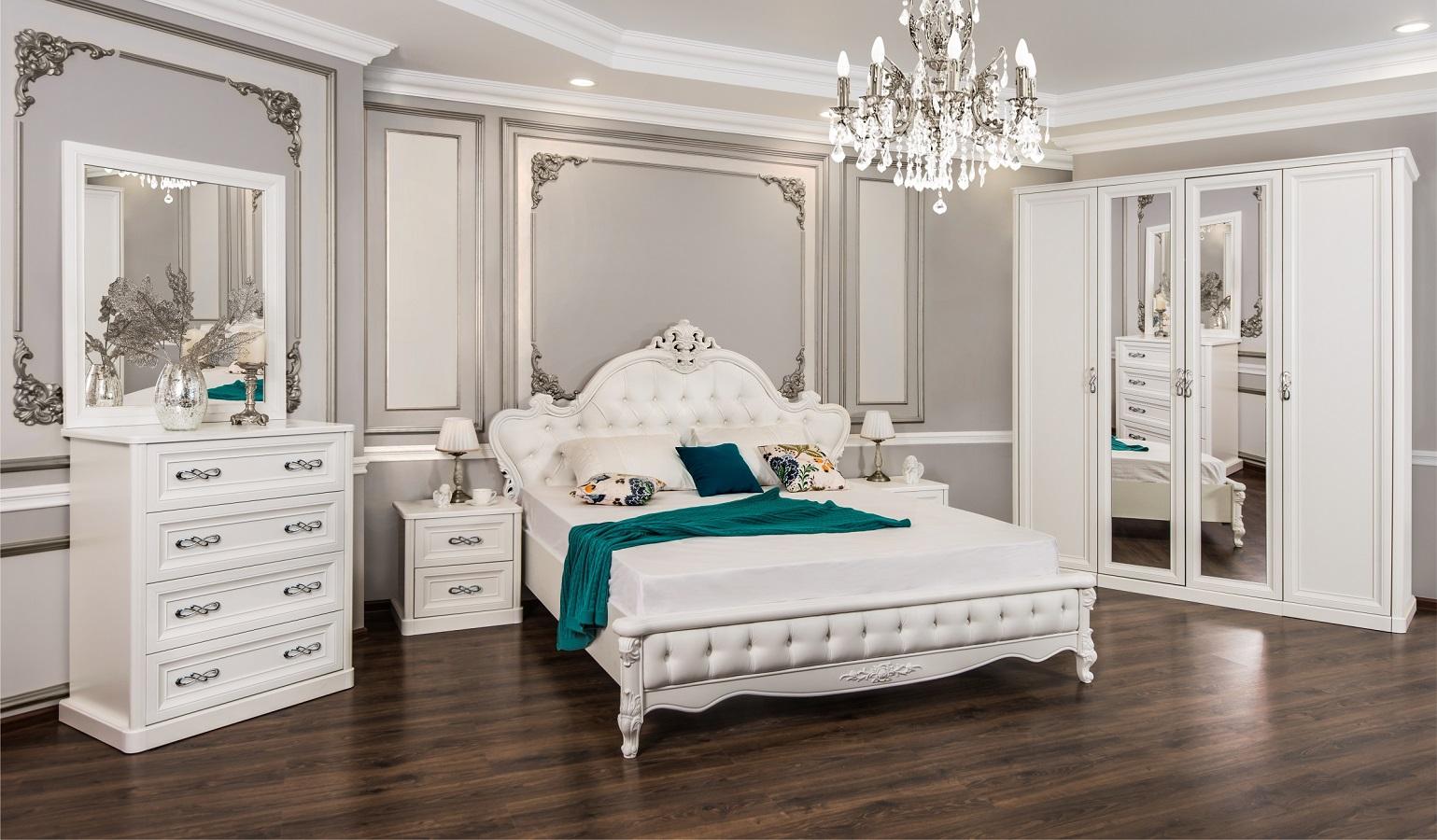 Спальня Мишель белый перламутр глянец